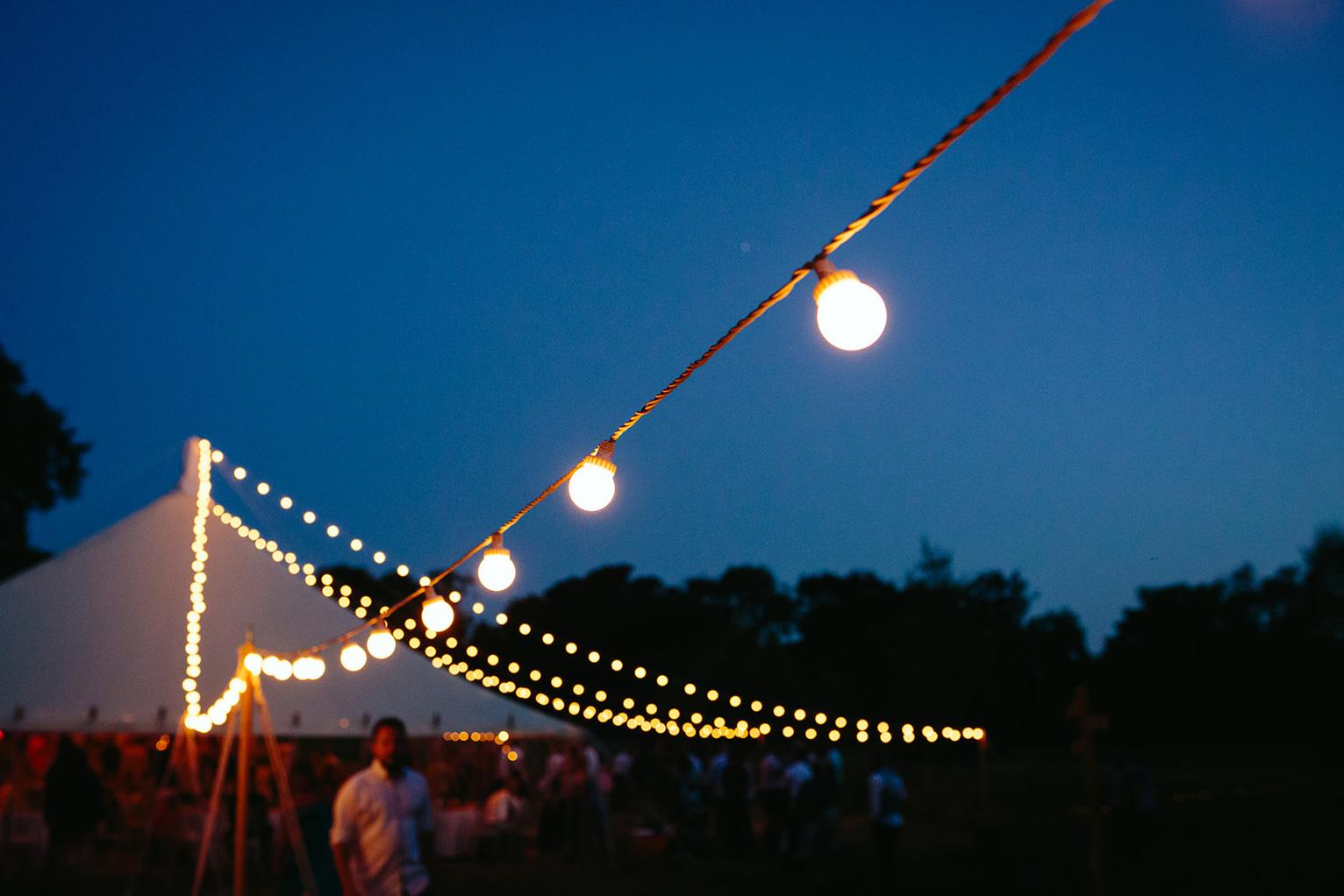 festival wedding tent fairy lights