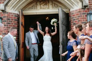 festival wedding bride and groom