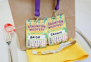 festival wedding bride groom vip pass lanyards