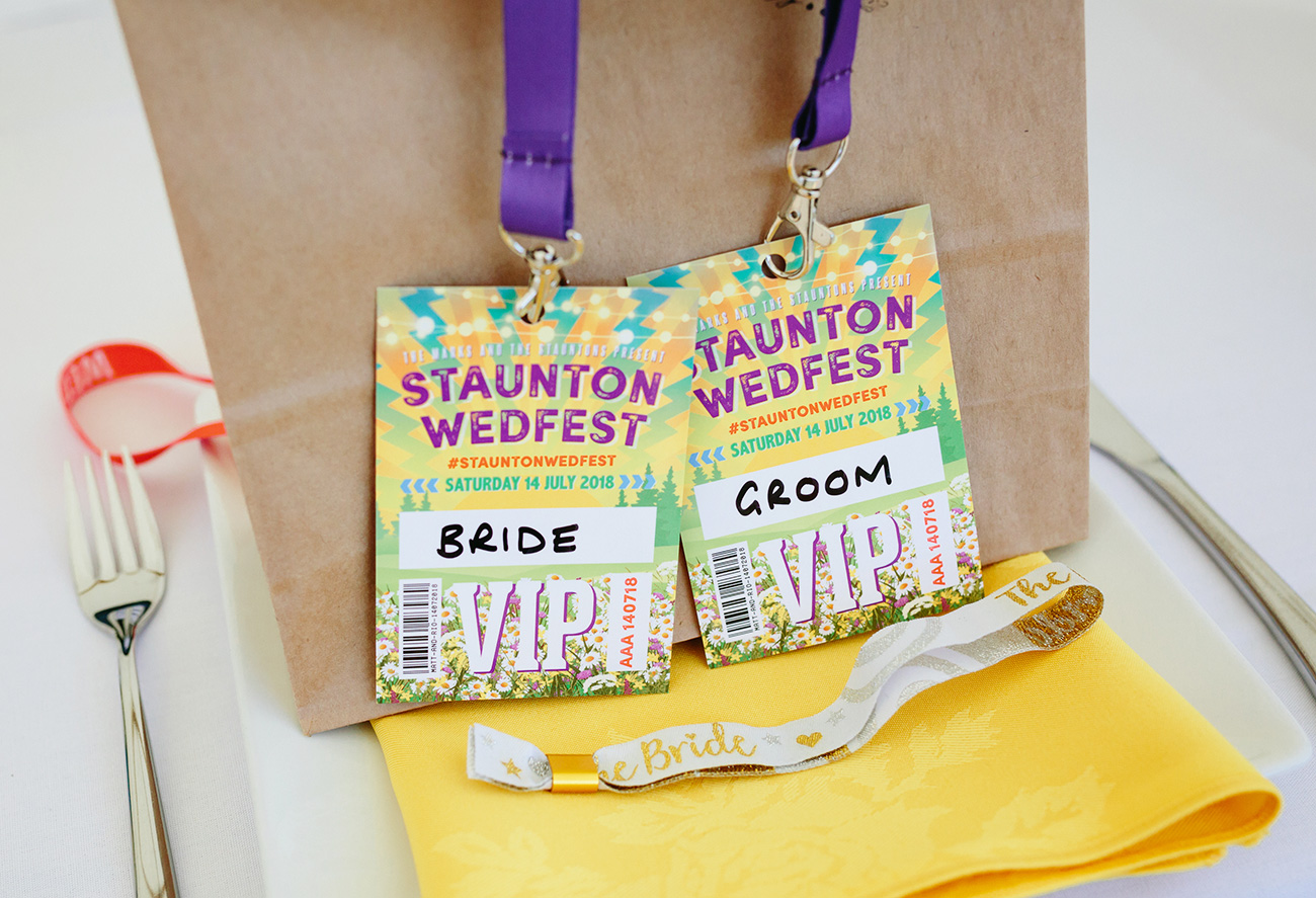 festival wedding bride groom vip pass lanyards