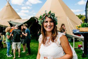 festival wedding bride tipi wedding