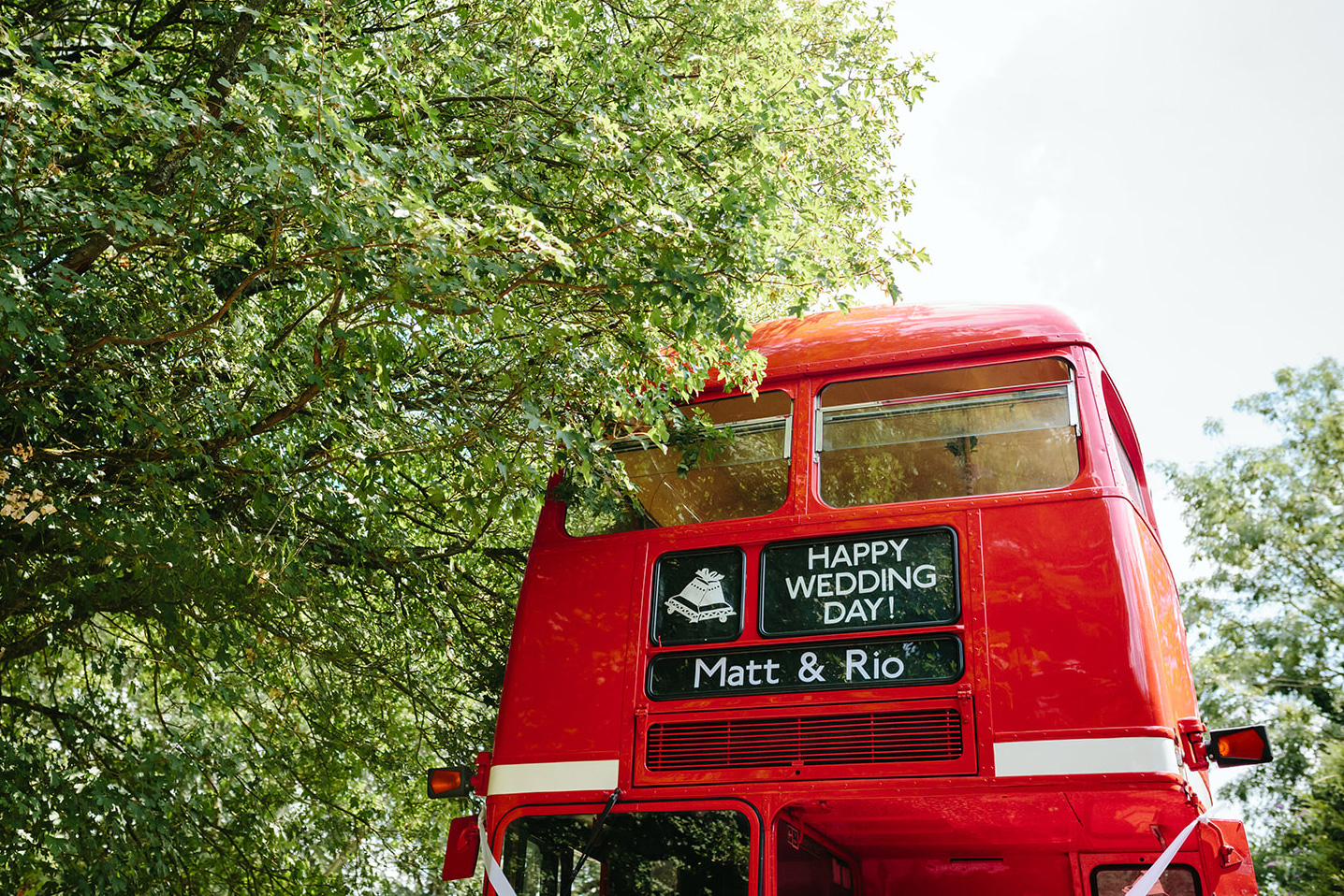 festival wedding double decker red bus