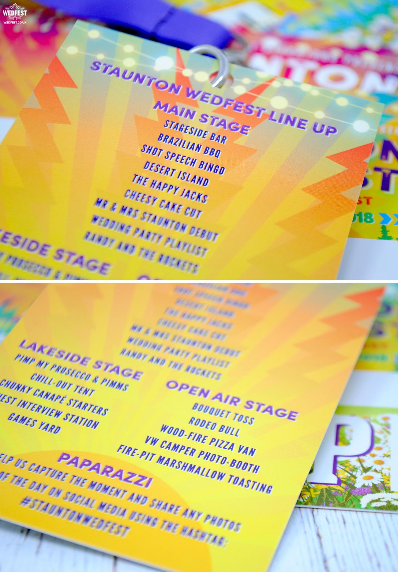 festival wedding programme running order line ups