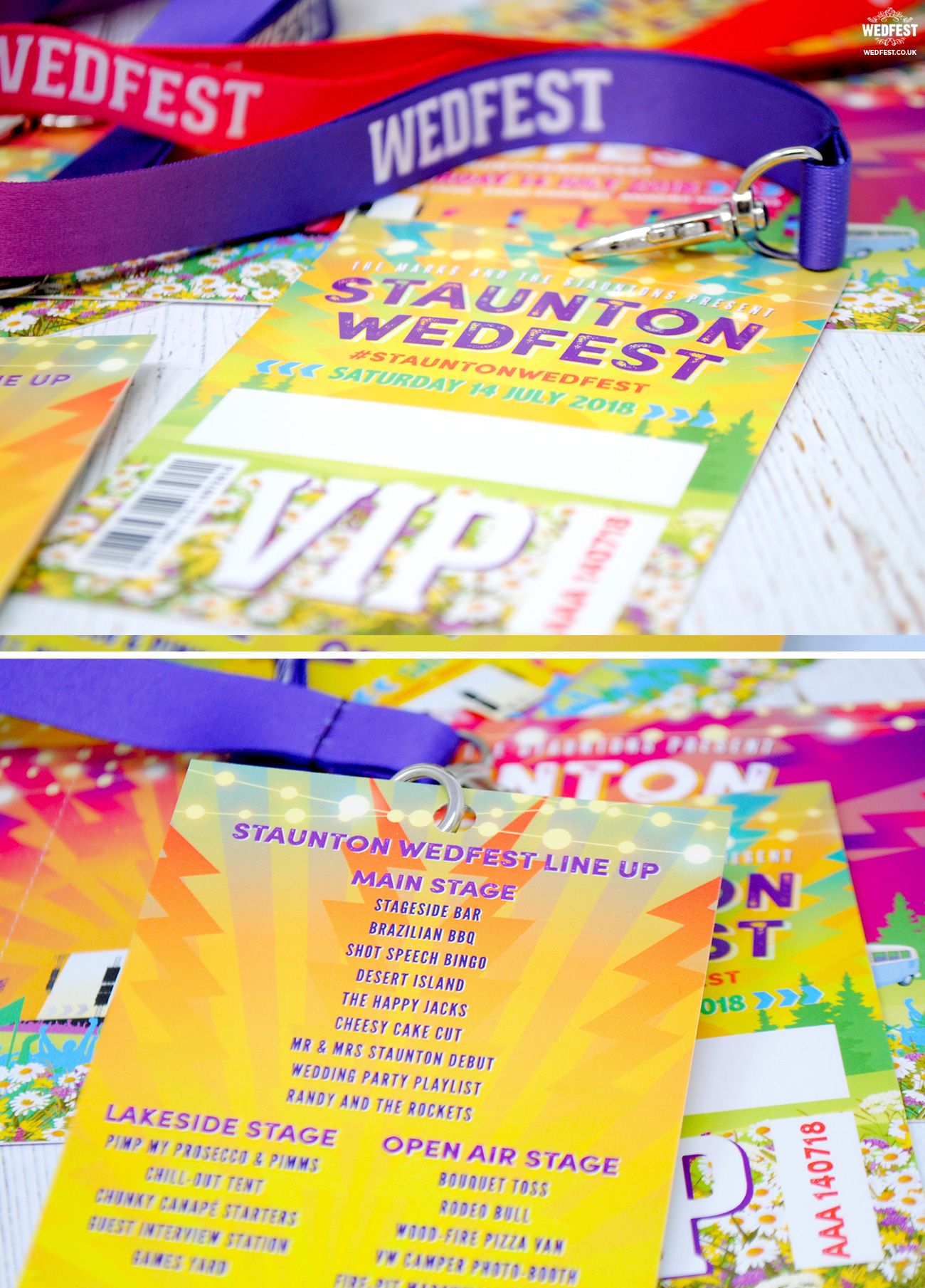 festival wedding running order vip pass lanyard