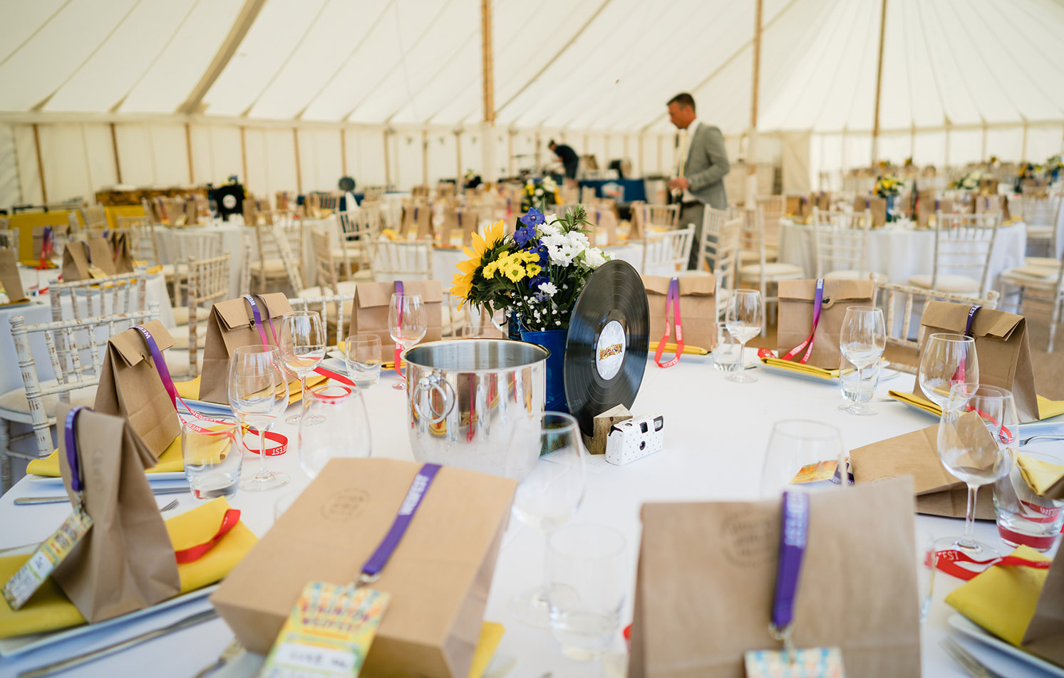 festival wedding table decoration lanyards favours vinyl records