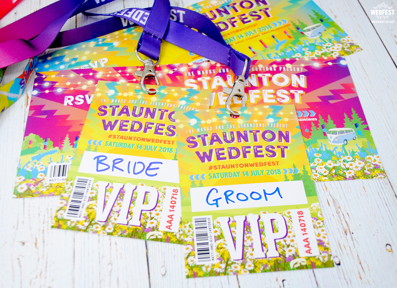 festival wedding vip programme lanyards
