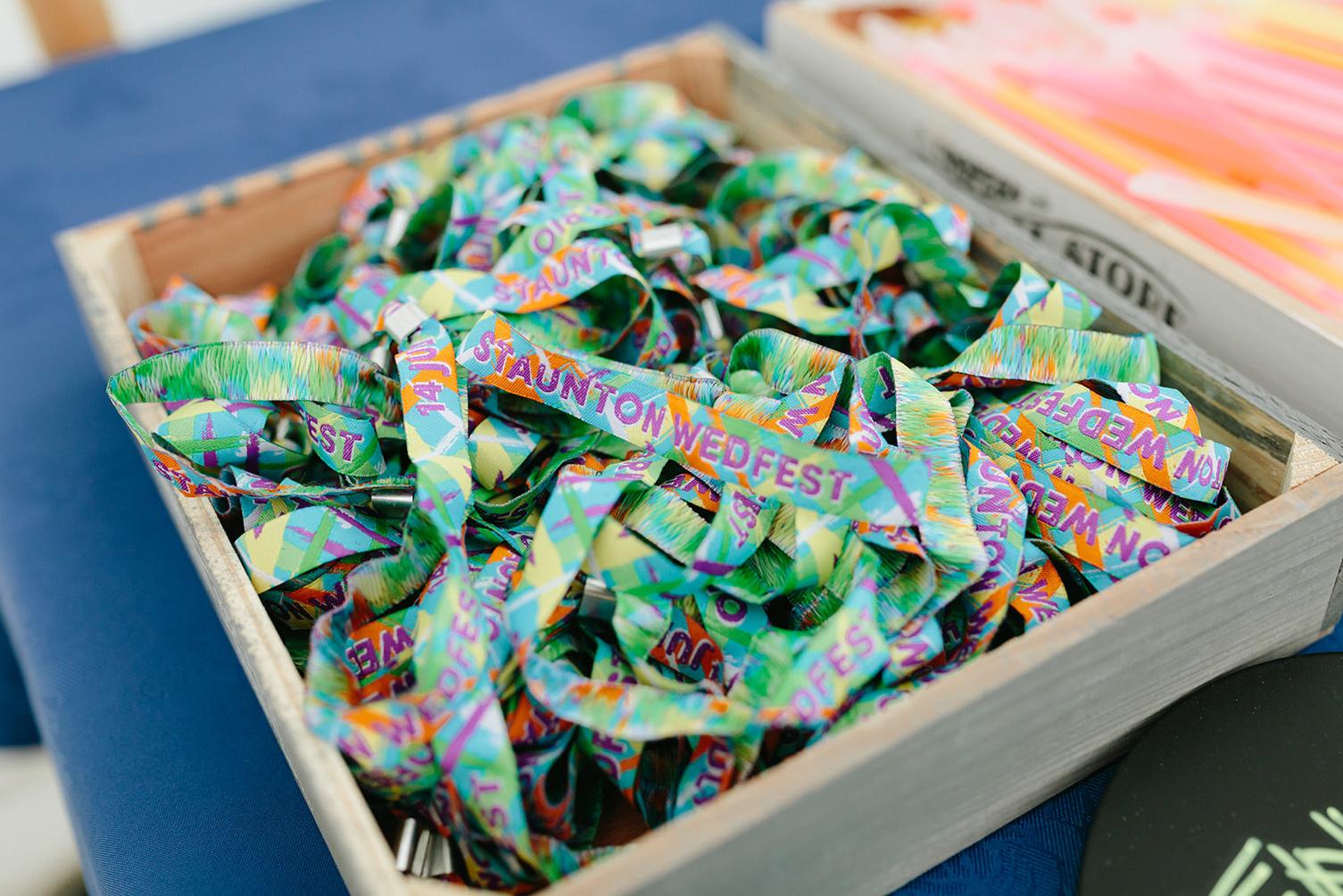 festival weddings custom woven fabric wristbands wedfest