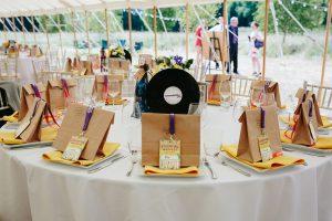 festival weddings table decoration lanyards favours vinyl records