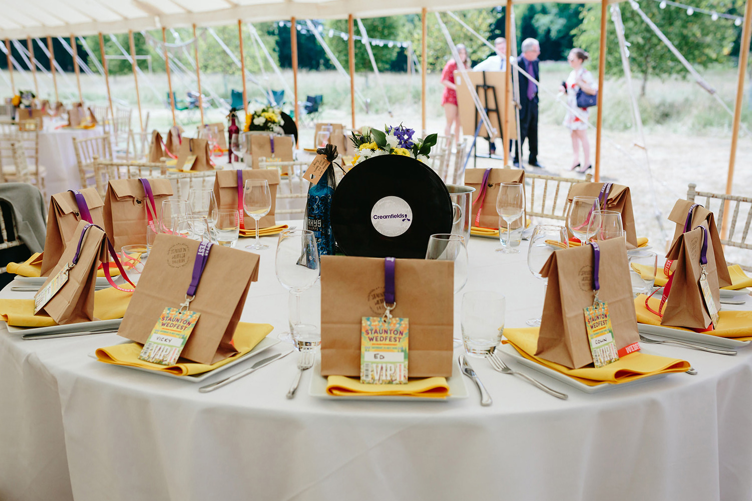 festival weddings table decoration lanyards favours vinyl records