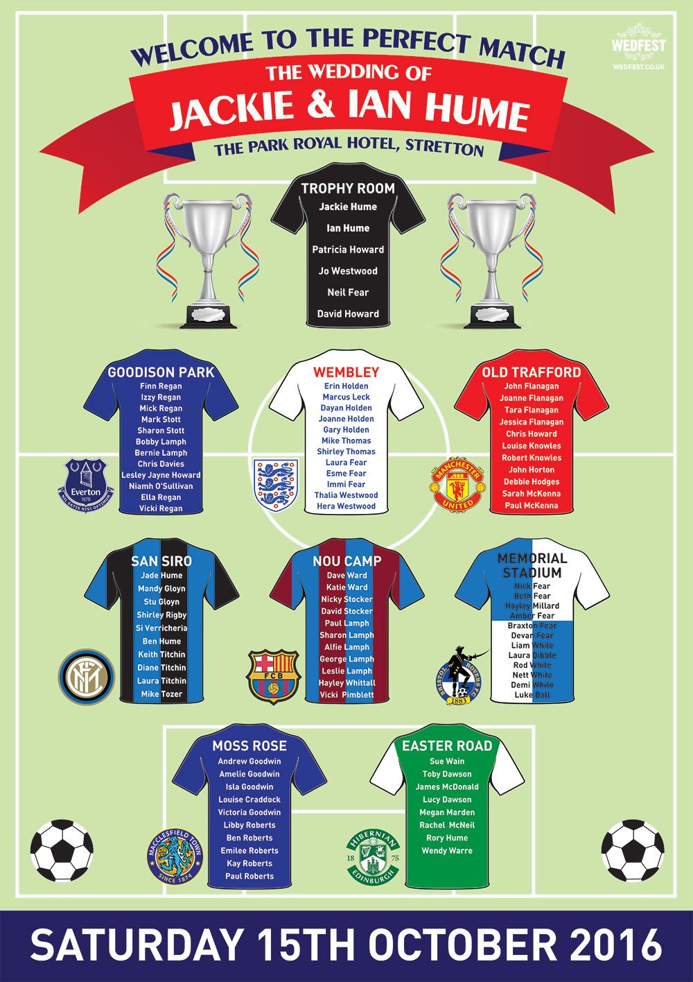 football teams wedding table plan seating chart