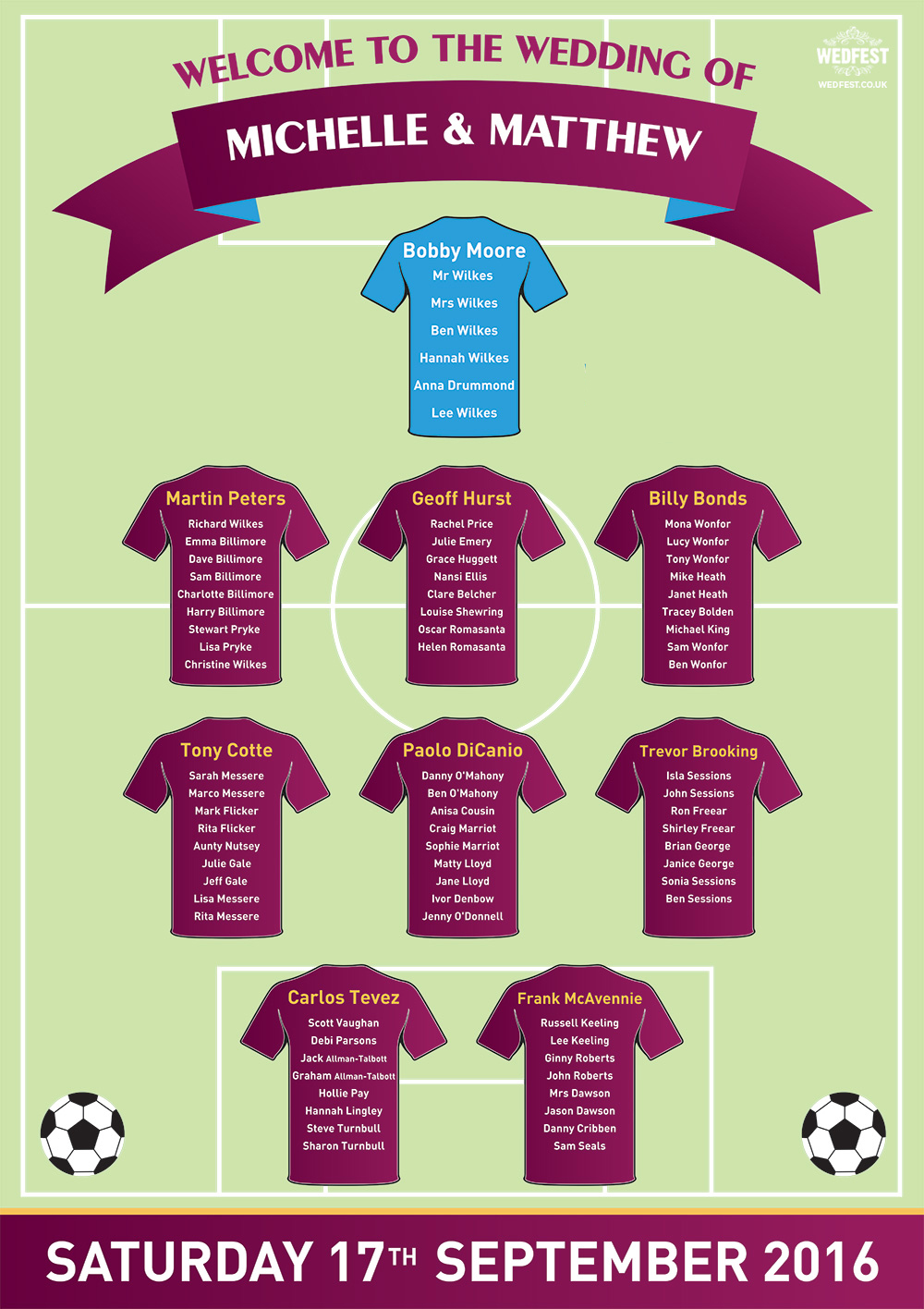 football wedding table plan