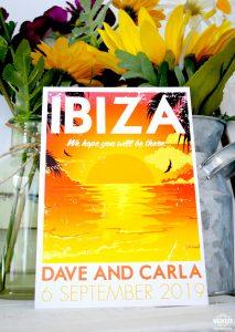 ibiza sunset wedding invitation stationery
