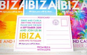 ibiza wedding postcard save the date