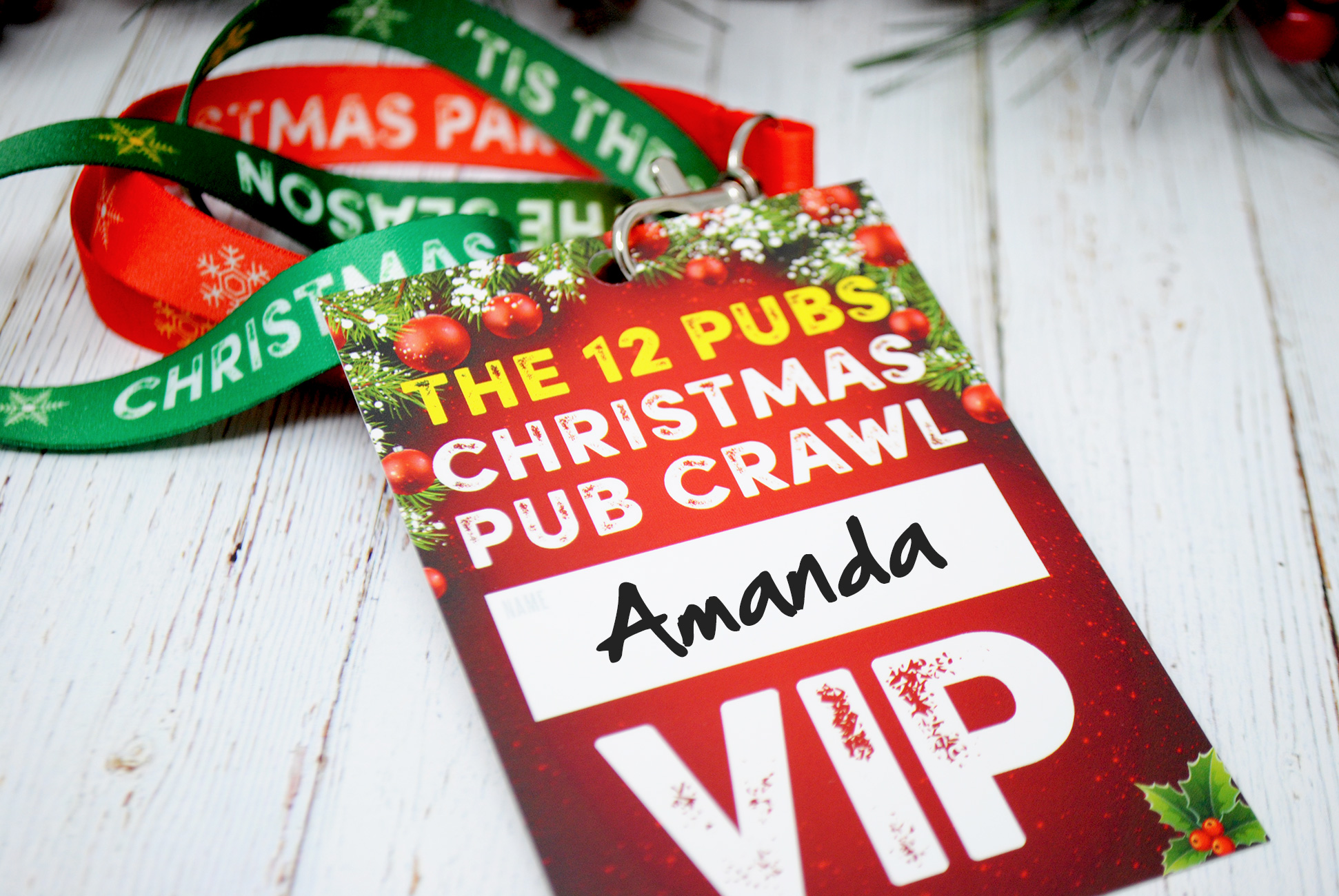 office christmas party pub crawl lanyards