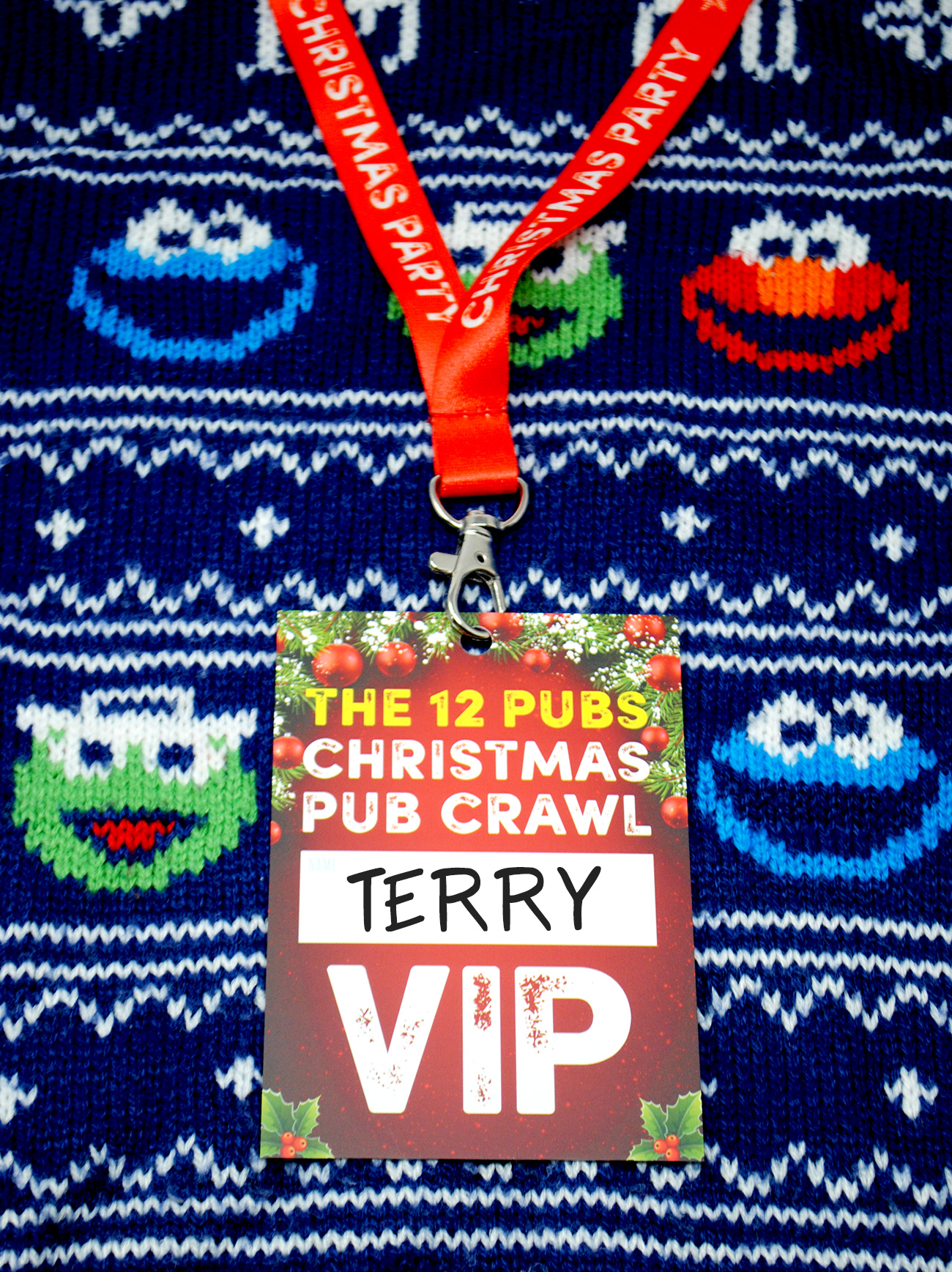the 12 pubs christmas pub crawl lanyard