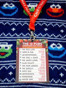 the 12 pubs christmas pub crawl list lanyards