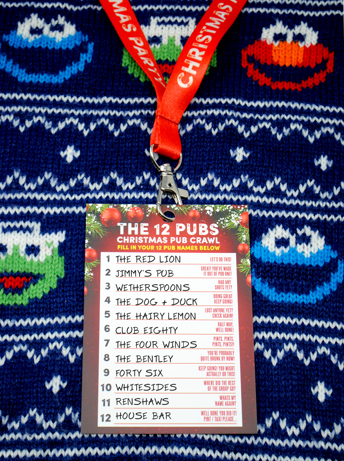 the 12 pubs christmas pub crawl list lanyards
