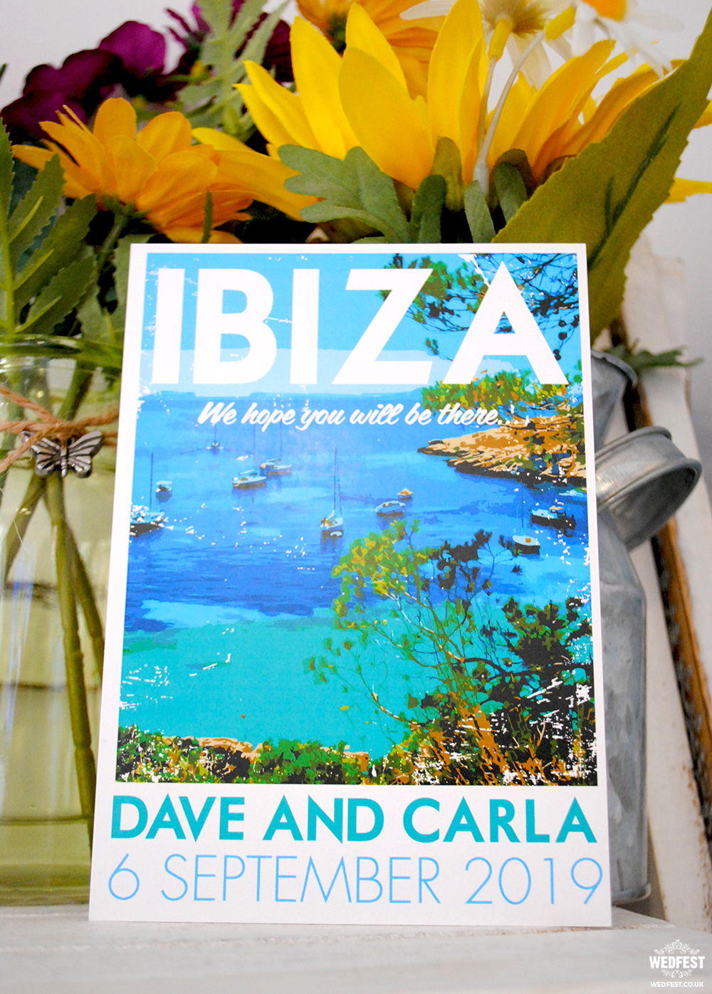 travel postcards wedding invites ibiza