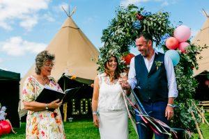 wedding ceremony handfasting tied wrists wristbands