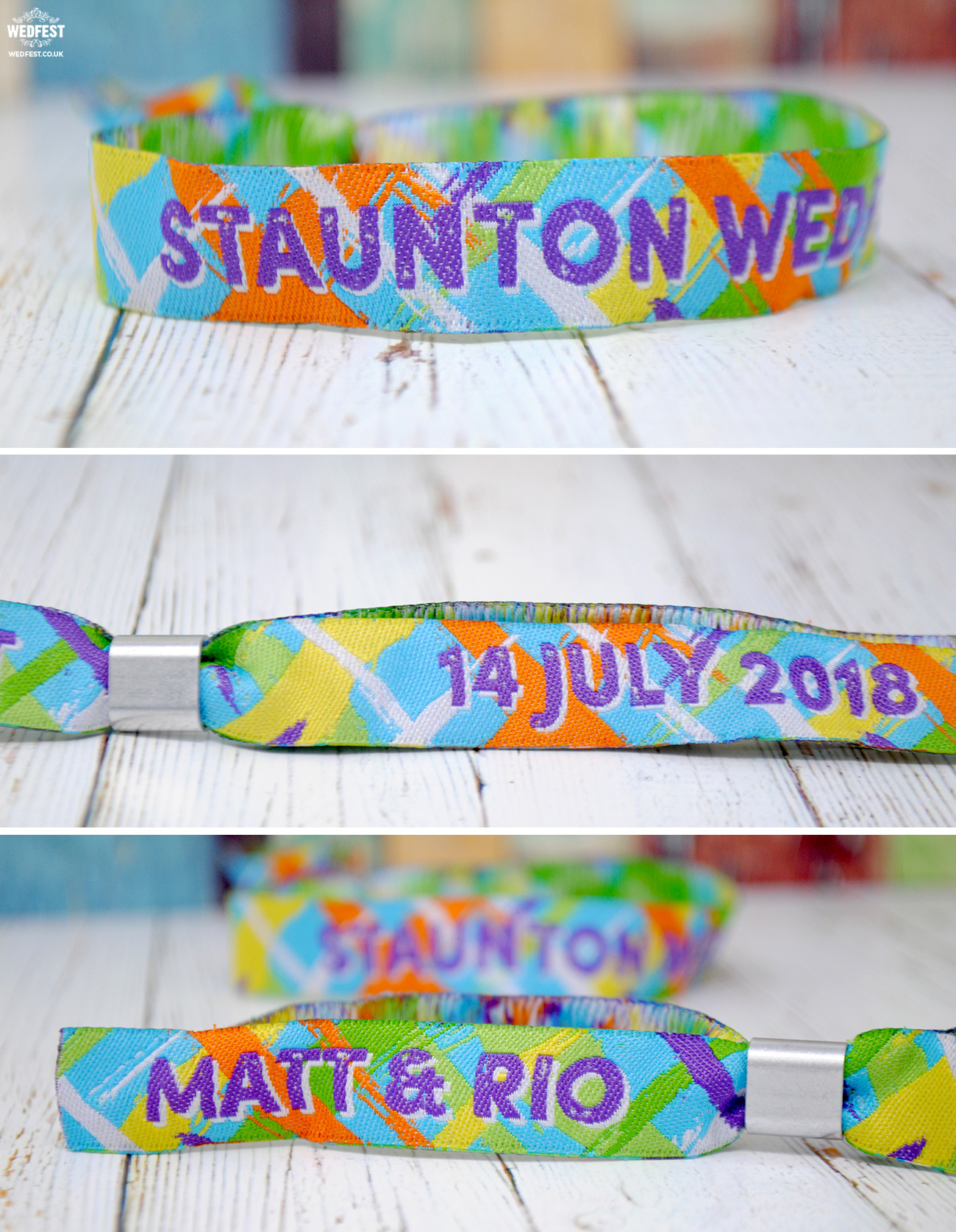 wedfest festival weddings wristbands favours