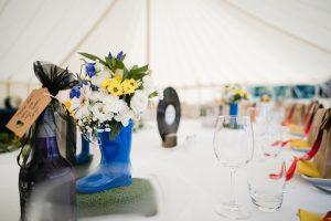 wedfest table decor wellies flowers vinyl records