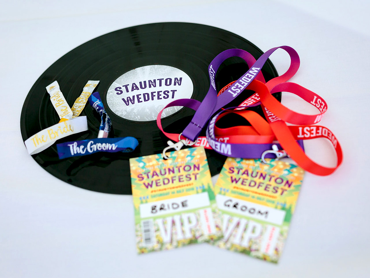 wedfest wristbands vip pass lanyards vinyl record stationery