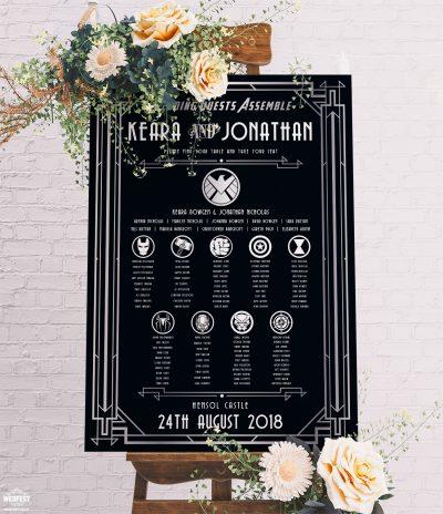 Avengers Superhero Great Gatsby Wedding Table Plan