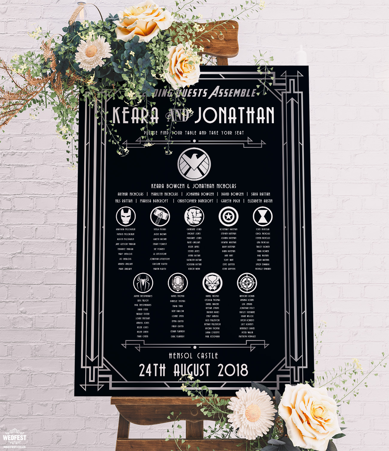 Avengers Superhero Great Gatsby Wedding Table Plan