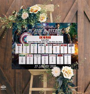 Avengers Superhero Wedding Table Seating Plan