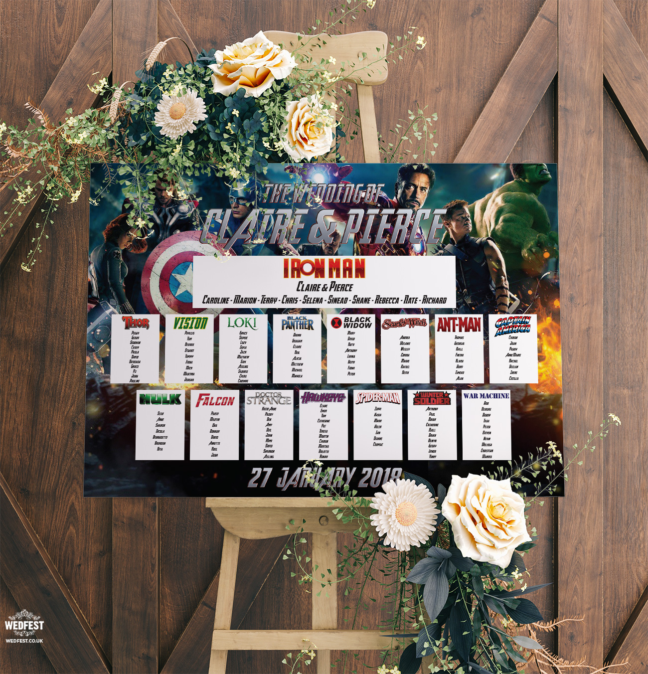 Avengers Superhero Wedding Table Seating Plan