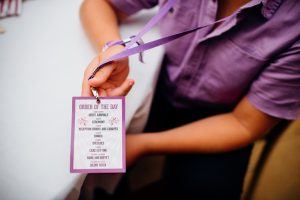 festival wedding order of the day lanyards
