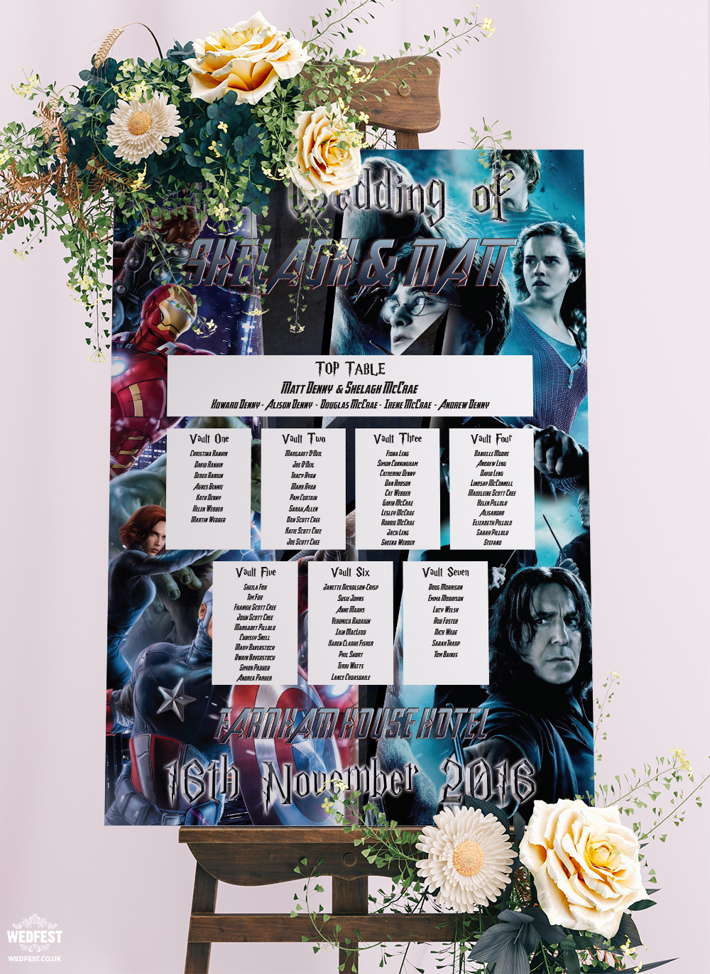 harry potter avengers wedding table planner