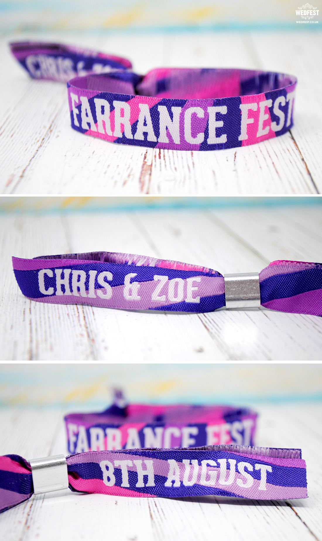 woven fabric festival wedding wristbands