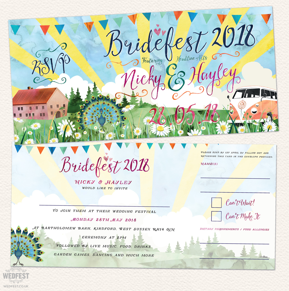 bridesfest watercolour festival wedding invites