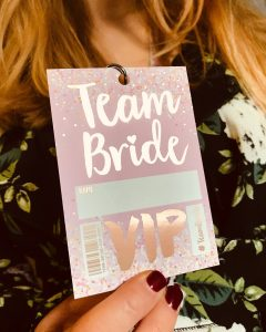 rose gold bachelorette party vip pass lanyard favours