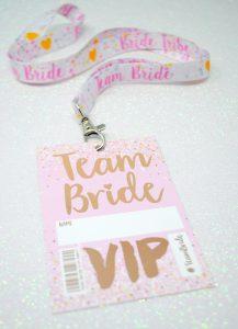 rose gold team bride hen bachelorette party lanyard favours