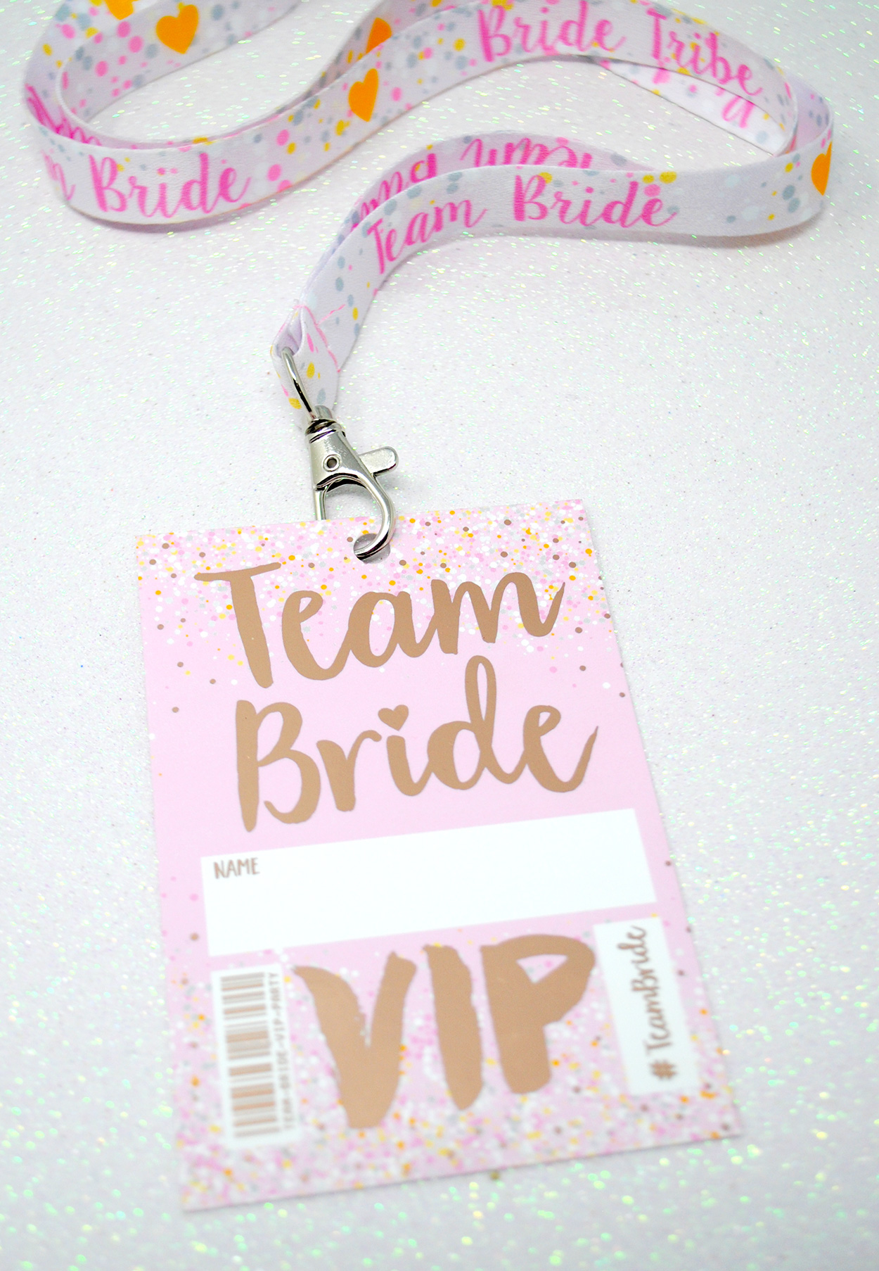team bride rose gold hen party vip lanyard