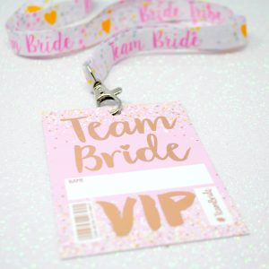 team bride rose gold hen party vip pass lanyard