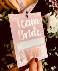 team bride rose gold hen party vip pass lanyards