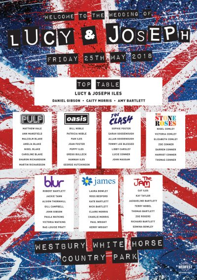 britpop union jack wedding table seating plan