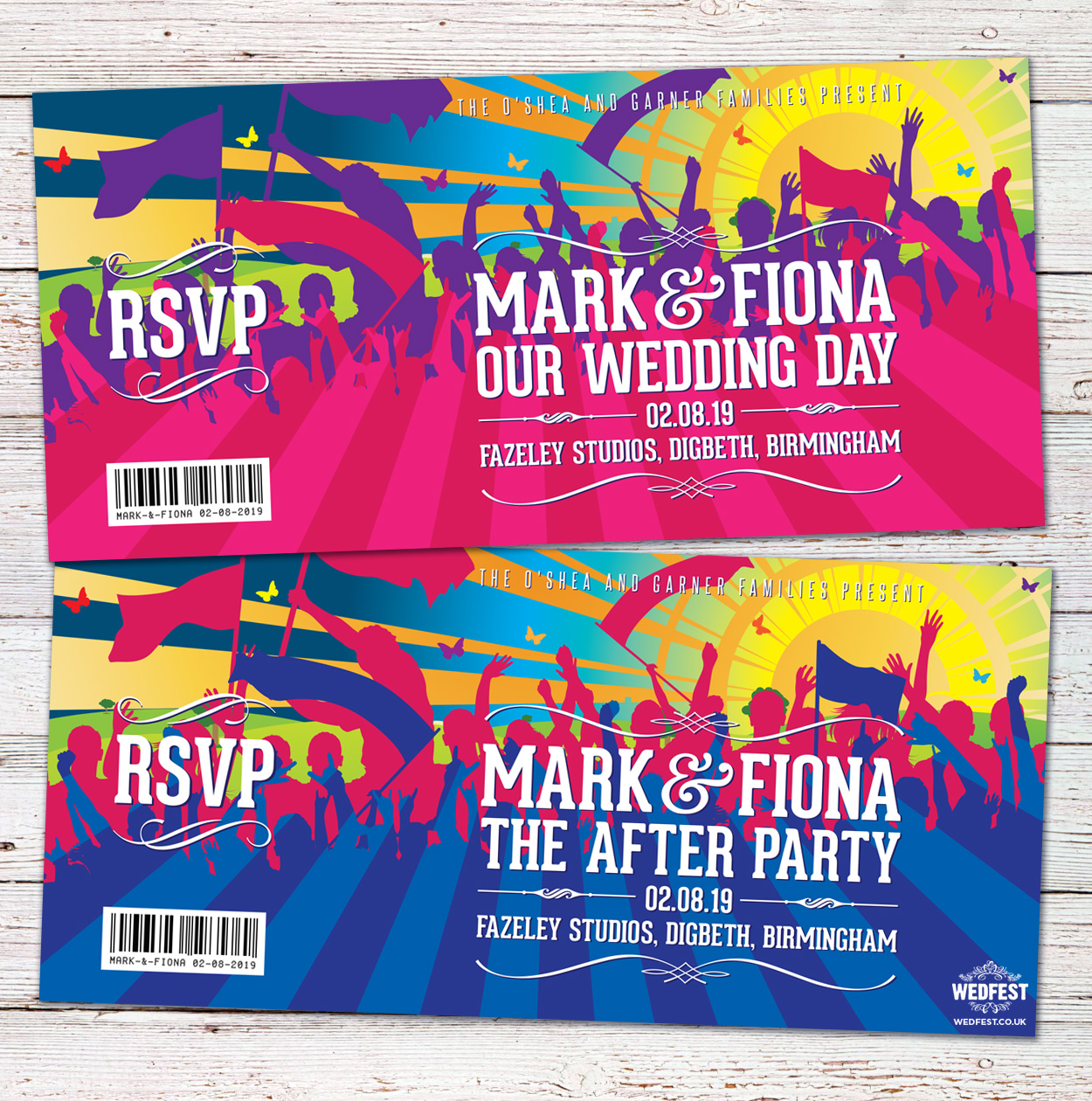 festival concert themed wedding invitations