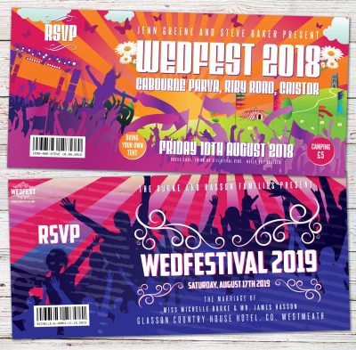 festival wedding invites