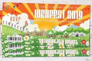 festival wedding partyfield moonacre wedfest wedding invitation