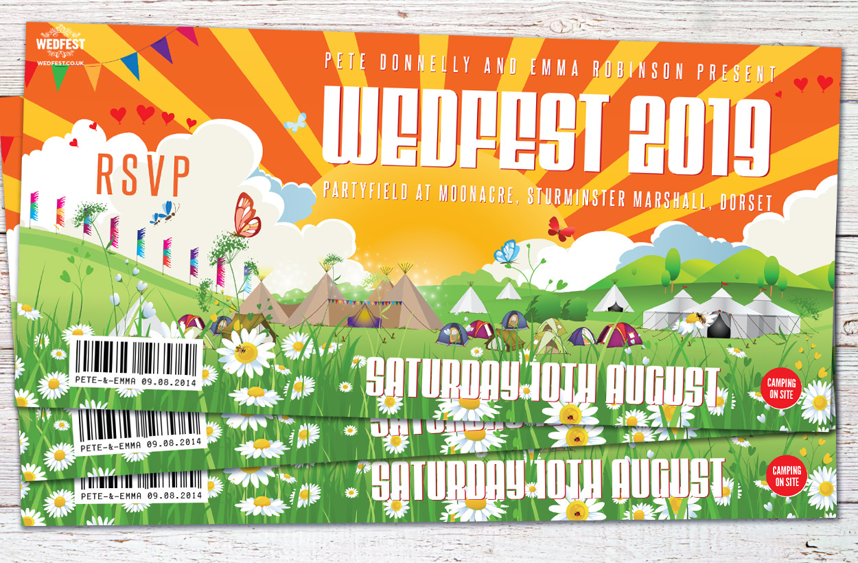 festival wedding partyfield moonacre wedfest wedding invitation