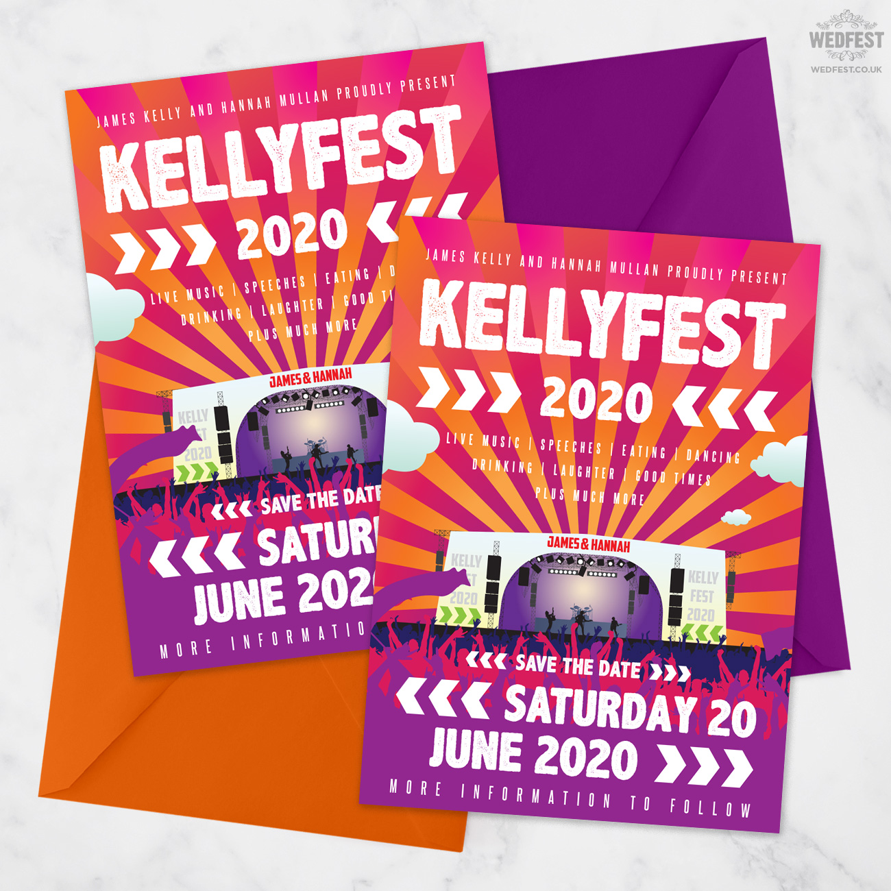 festival wedding save the date card invite