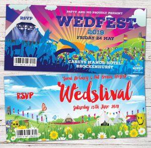 glastonbury theme festival wedding invitations