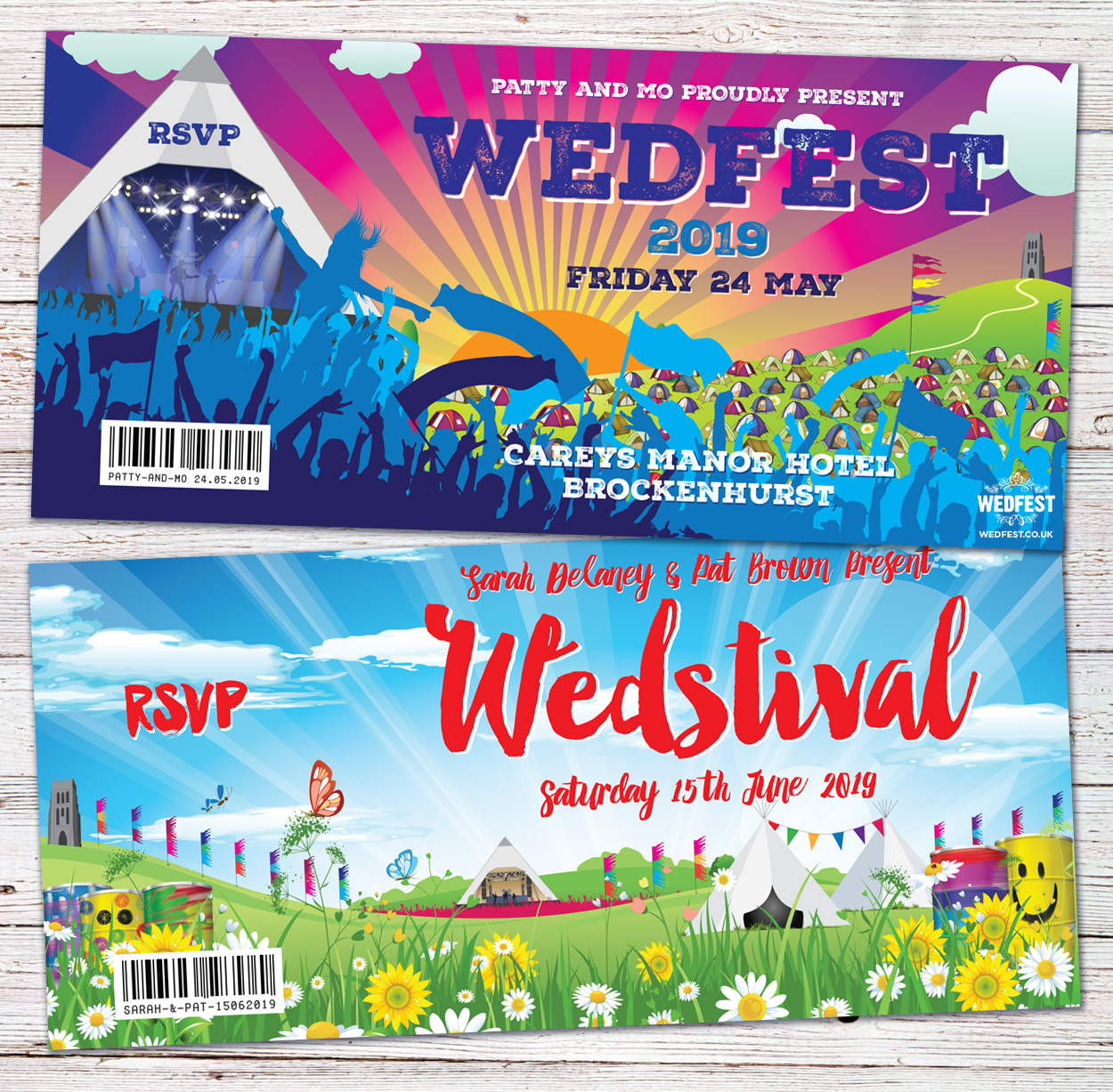 glastonbury theme festival wedding invitations