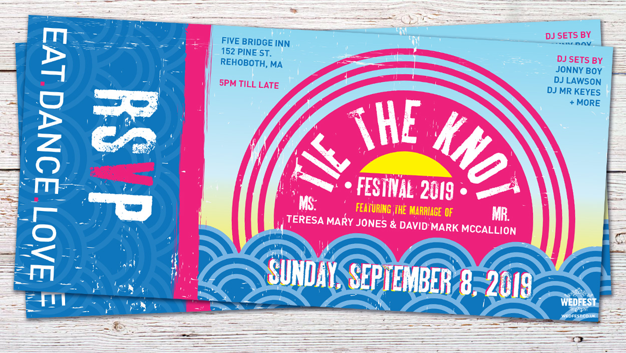 tie the knot festival wedding invitations