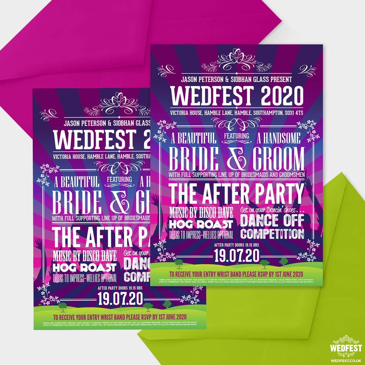 wedfest poster line up festival wedding invitation