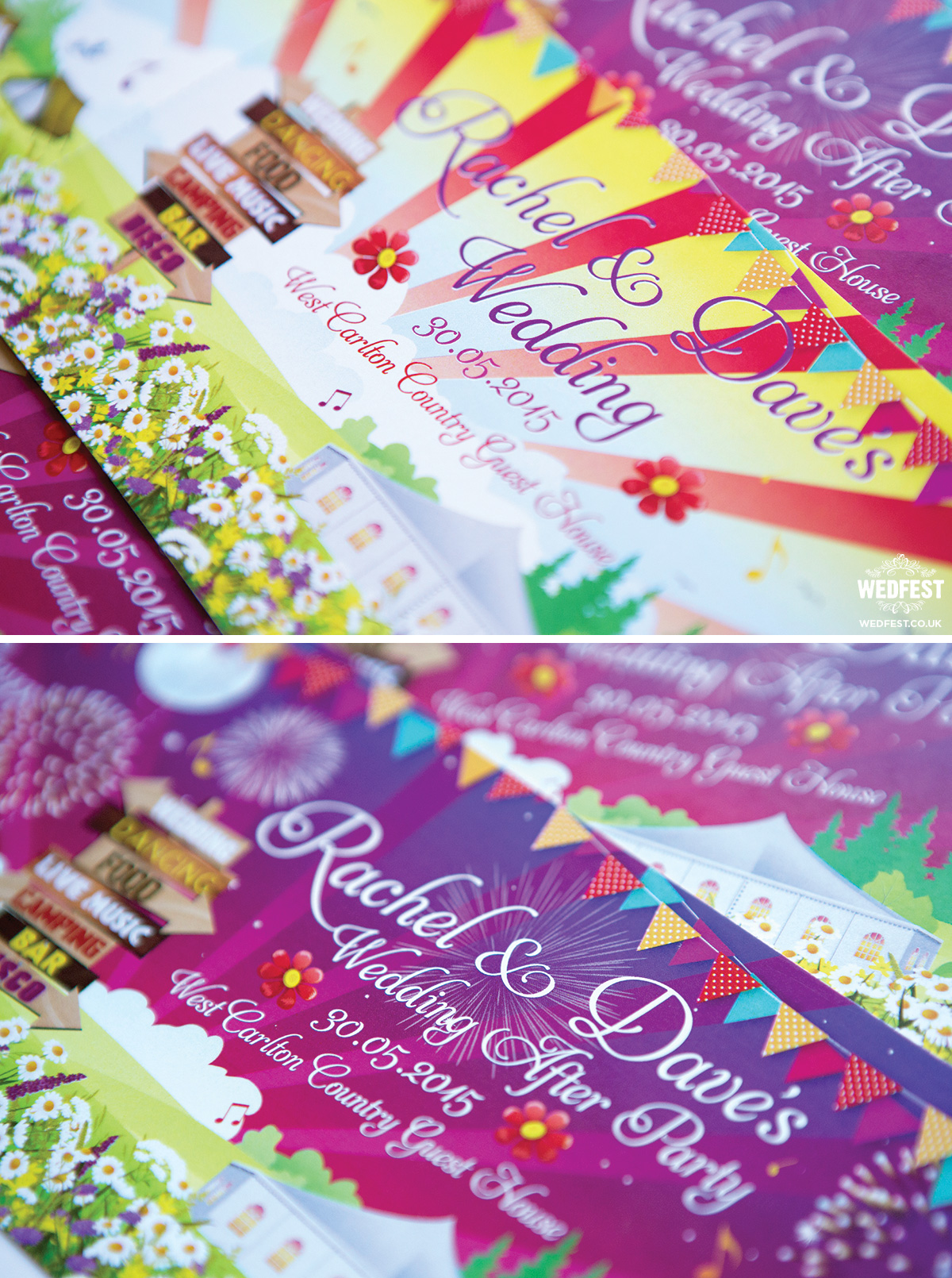 west carlton country house festival wedding invite